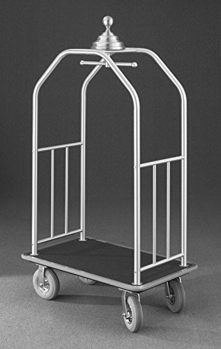 (Glaro 7640 Premium Bellman Cart with Satin Brass finish, Burgundy carpet color, and Gray bumper. Includes Solid Rubber Black tires. Includes Side Rails. Includes Brakes.)