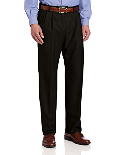 Ascott Browne Wool Blend Self Sizer Pleated Front Pant (34, Black)
