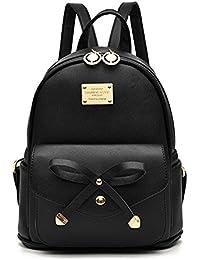 Girls Bowknot Cute Leather Backpack Mini Backpack Purse...