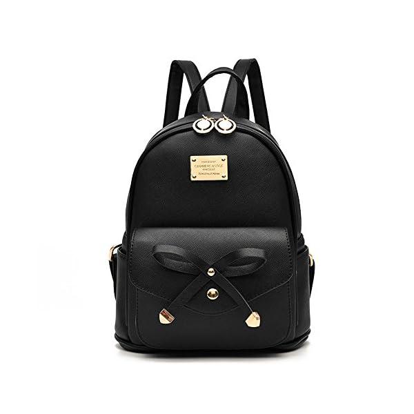 Girls Bowknot Cute Leather Backpack Mini Backpack Purse