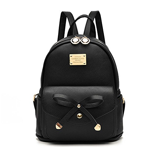 Girls Bowknot Cute Leather Backpack Mini Backpack Purse for Women ...