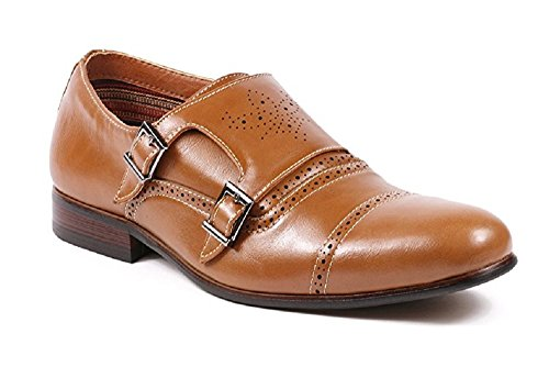 Mens Ferro Aldo 19396 Double Monk-Strap Perforated Brogue Dress Loafers Shoes Brown jOb8bVDaB
