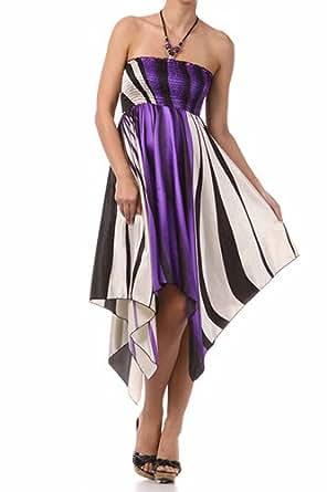 FOSatinSwirl12-5331 Swirl Design Satin Feel Beaded Halter Smocked Bodice Handkerchief Hem Dress - Purple / Small