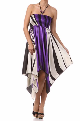 (FOSatinSwirl12-5331 Swirl Design Satin Feel Beaded Halter Smocked Bodice Handkerchief Hem Dress -)