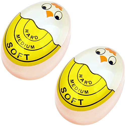 Egg Timer Cartoon Sensitive Hard & Soft Boiled Color Changing Indicator Tells When Eggs Are Ready (Yellow 2pcs)