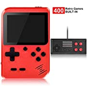 #LightningDeal Handheld Game Console, Kiztoys Retro Game Console with 400 Classic Handheld Games, Supporting 2 Players & TV Connection, 800 mAh Rechargeable Battery