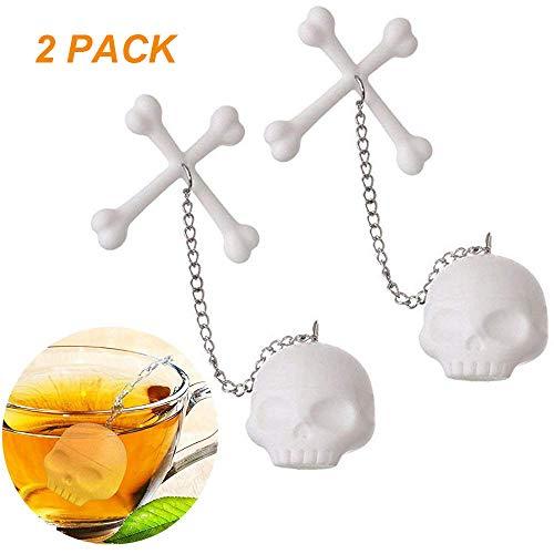 Leaf Tea Infuser, Silicone Tea Strainer, Coolrunner 2 Pcs Tea Bones Skull Tea Filter Diffuser for Loose Leaf Leaves, Mugs and Teapots]()