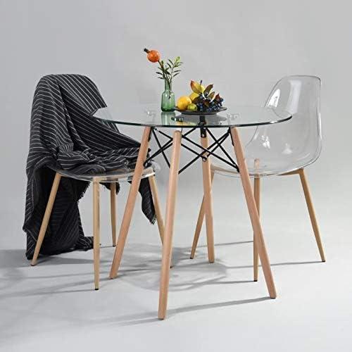 BM Furniture Mesa de Comedor Moderna, Mesa de Cocina de Cristal ...