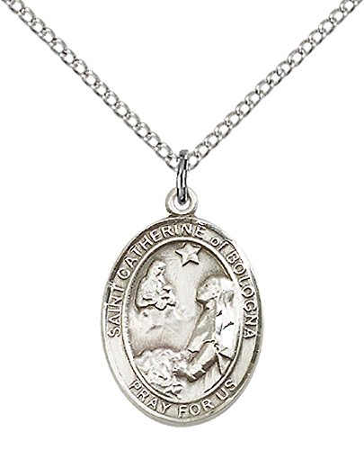 F A Dumont Sterling Silver St. Catherine of Bologna Pendant with 18