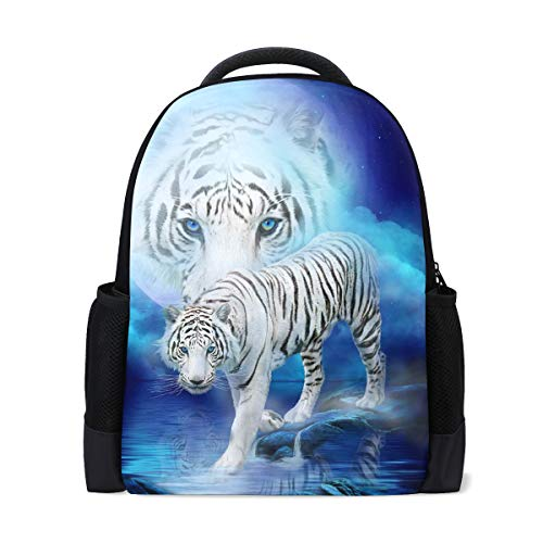 Backpacks Travel Hiking School Laptop Shoulder Backpack, White Tiger Moon College Heavy Duty Large Bag Backpack for Men Women