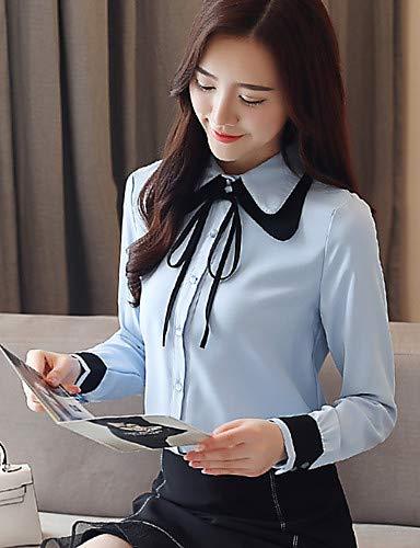 Femme Block Blouse Coton Col Color Automne Blue Shirt YFLTZ en PAtpxnpY