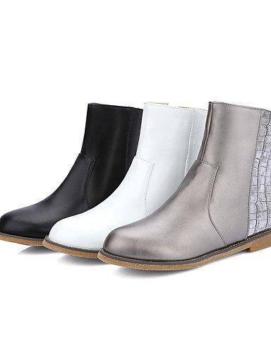 XZZ/ Damen-Stiefel-Lässig / Kleid-Kunstleder-Niedriger Absatz-Modische Stiefel-Schwarz / Weiß / Silber white-us8 / eu39 / uk6 / cn39