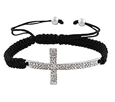 2 Pieces of Black with Silvertone Sideways Cross Adjustable Bracelet (S-560)