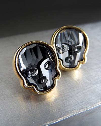 - Swarovski Crystal Skull Stud Earrings - Black Skull Post Earrings, Gold Tone Bezels - Halloween Jewelry