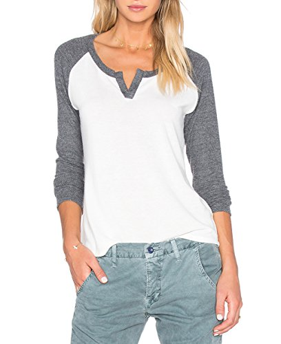 Sarin Mathews Women's Casual V Neck Loose Fit Long Sleeve T-Shirt Blouse Tops Lightgrey L
