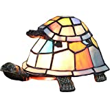 Bieye L10217 Turtles Tiffany Style Stained Glass Accent Table Lamp Night Light for Bedside Living Room Bedroom (Multi-Colored Double)