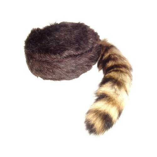 Davy Crockett or Daniel Boon Style Coon Skin Hat with Real Tail (Large)