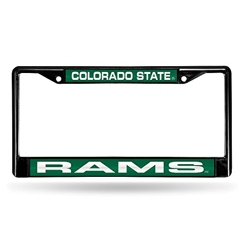 NCAA Colorado State Rams Laser Cut Inlaid Standard Chrome License Plate Frame, 6'' x 12.25'', Black by Rico