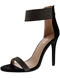 Womens Diamante Ankle Strap High Heel Party Evening...