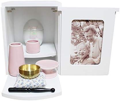 ミニ仏壇 メモリアルBOX ホワイト ミニ仏具3点セット ピンク おりん ボックス 2~4寸骨壷収納