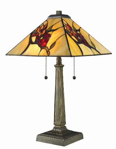 - Tiffany Mission with Floral Motif Table Lamp