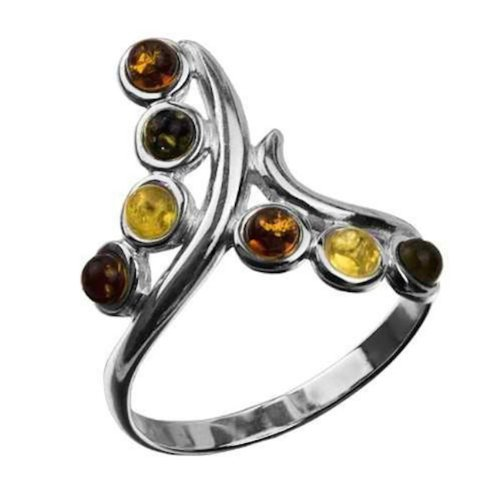 Multicolor Amber Sterling Silver Tiny Stones Twig Ring Sizes 5,6,7,8,9,10,11,12