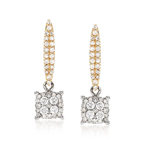 Ross-Simons .50 ct. t.w. Diamond Illusion Drop Earrings in 14kt Two-Tone Gold (14kt Earrings 2 Diamond Tone)