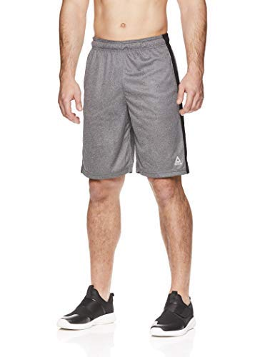 Reebok Men's Drawstring Shorts - Athletic Running & Workout Short w/Pockets - Dadson Charcoal Heather, Small