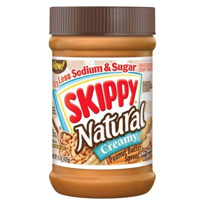 Skippy Creamy Peanut Butter 1/3 Less Sodium and Sugar 15oz (Pack Of 6)