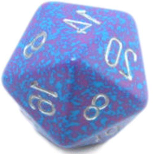 Custom & Unique {Huge XL Big Large 34mm} 1 Ct Single Unit Set of 20 Sided [D20] Icosigon Shape Playing & Game Dice Made of Plastic w/ Rounded Corner Edges w/ Speckled Design [Blue, Purple & White] ()