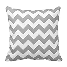 Home Style Chevron Pattern- White and Gray Zigzag Pillow Cover