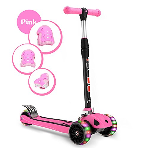 "Kids Kick Scooter 3 Big Wheels Children Outdoor Toy Gift Folding/LED Flicker 2""widthX3 PU Flashing/Pedal with Stainless Steel/4 Adjustable Height T Bar/Safety Gravity Steering/4-15 Years Old Pink"