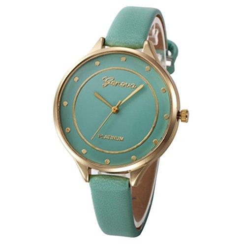 Balakie Women's Watch, Ladies Watch Casual Heart Pattern Small Faux Leather Quartz Analog Wrist Watch Xmas Gift (Green, alloy-3)