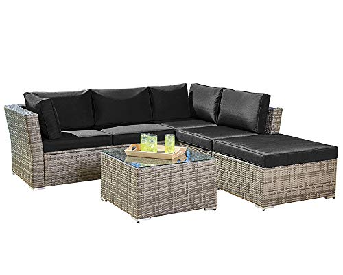 Suncrown Outdoor Furniture Sectional Sofa (4-Piece Set) All-Weather Grey Checkered Wicker with Black Washable Seat Cushions & Glass Coffee Table | Patio, Backyard, Pool | Waterproof Cover & Clips (Sofa Apartment Facing)