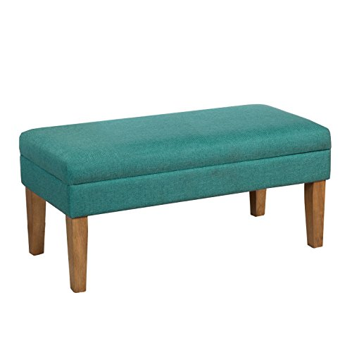 HomePop Modern Storage Bench with Hinged Lid, Teal ()