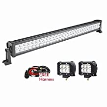 Serpeo 32 Inch 180W LED Light Bar Flood Spot Combo Beam IP 68 Waterproof Driving Light with 2 Pcs 18W LED Lights and a Wiring Harness for ATV SUV 4WD Jeep Truck Offroad Boat