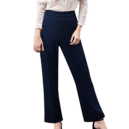 (Ladies Trousers Hot Sale,DEATU Womens Solid Mid-Waist Plus Size Loose Straight Fashion Casual Long Pants(Navy,XXL))