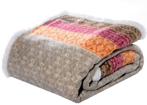 Microfleece Throw (Eddie Bauer FairIsle Sherpa Reversible Throw, 50 by 70-Inch, Khaki)