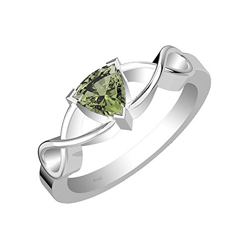 1.00ct, Genuine Moldavite 6x6mm Trillion & Solid .925 Sterling Silver Ring (Size-7)