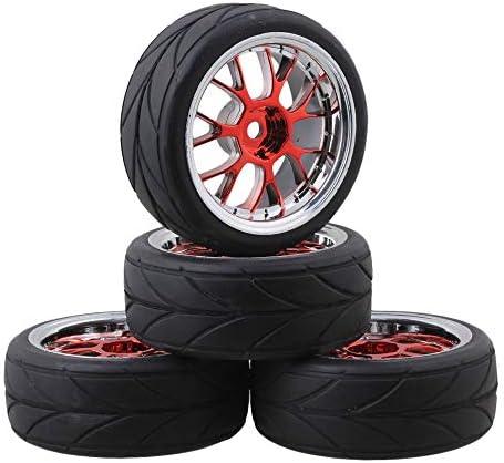 Hobbypower RC1/10オンロードレーシングカー タイヤ & ホイールリム 適用 1/10 HSP HPI Traxx
