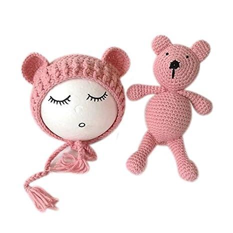 Bebé recién nacido fotografía foto props trajes niño Niña Gorro oso ...