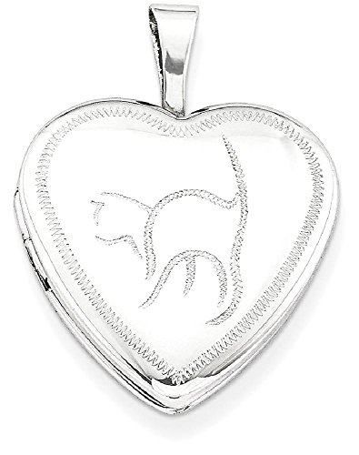 Cat Locket (ICE CARATS 925 Sterling Silver 16mm Cat Heart Photo Pendant Charm Locket Chain Necklace That Holds Pictures W/chain Fine Jewelry Gift Set For Women Heart)