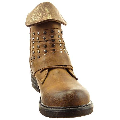 Sopily - Chaussure Mode Bottine Motard Montante femmes clouté réversible Fermeture Zip Talon bloc 4 CM - Camel