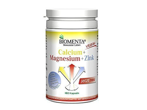Biomenta® Calcium + Magnesium + Zink - KOMBINATION WICHTIGER MINERALSTOFFE - 180 vegane Kapseln - 3 Monatskur