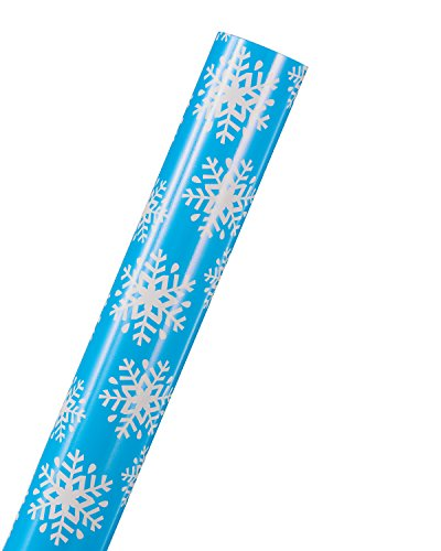 """American Greetings Snowflakes on Blue Holiday Jumbo Wrapping Paper, 30"""", 200 Total Sq. Ft."""