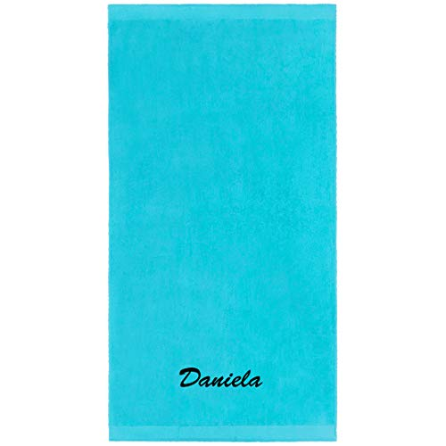 Kaufman - Personalized Velour Beach and Pool Towel 100% Cotton 30in X 60in Embroidered (Turquoise) (Embroidered Towels Beach)