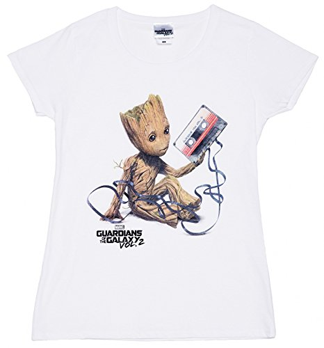 TruffleShuffle Frauen s Weie Baby Groot und Kassette Guardians of The Galaxy T Shirt