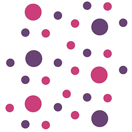 Set of 30 - Hot Pink/Purple Circles Polka Dots Vinyl Wall Graphic Decals Stickers
