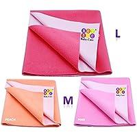 Bey Bee {Premium} 100% Waterproof Mattress Protector/Baby Care Gift Pack (1 Large + 2 Medium, Salmon Rose/Pink/Peach)