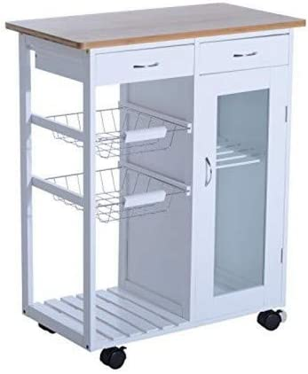 Rolling Kitchen Trolley Storage Cart Wheels Meal Serving Metal Wire Shelves Rack